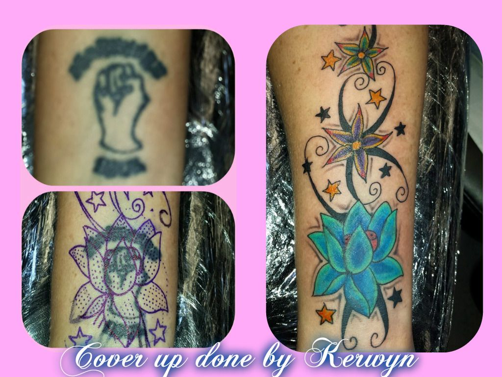 Cover up, floral tattoo, swirls, pretty, girly