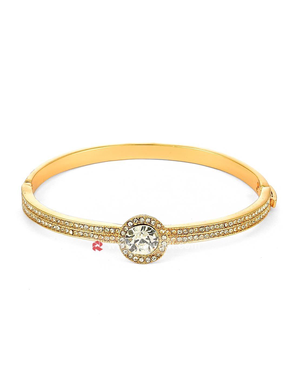 Gold plated crystal kada bracelet rajwadi contemporaryjewellery