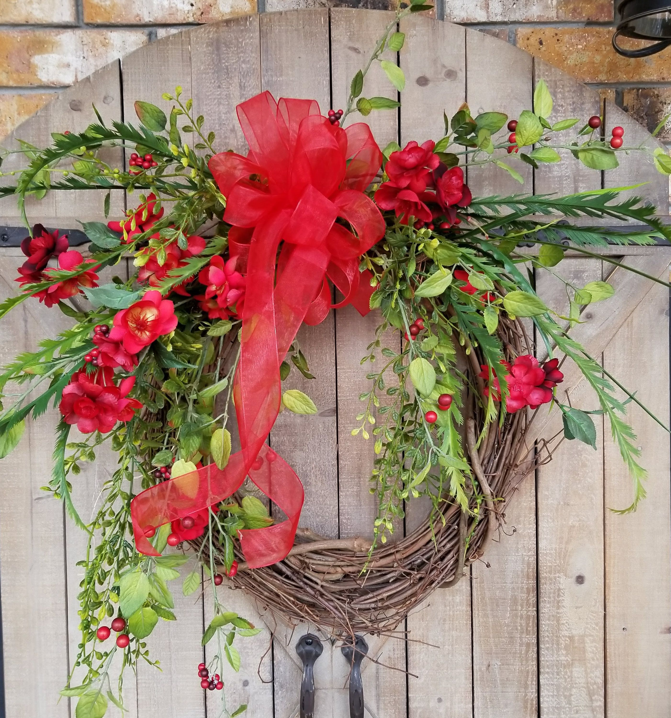 Red Apple Blossom Wreath Door Wreath Valentines Day Spring