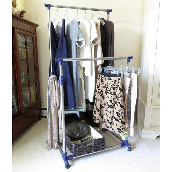 Heavy Duty Clothes Rack, Portable Double Clothes Hanging Storage Bars Amazing Pictures