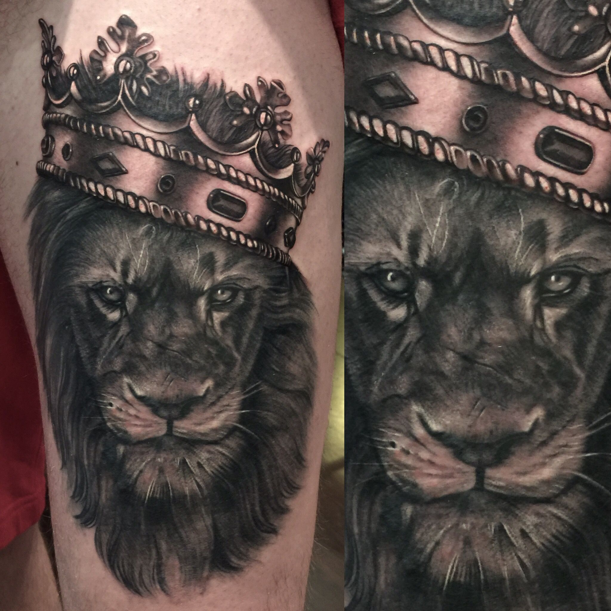 Lion and crown tattoo Crown tattoo, Lion tattoo sleeves