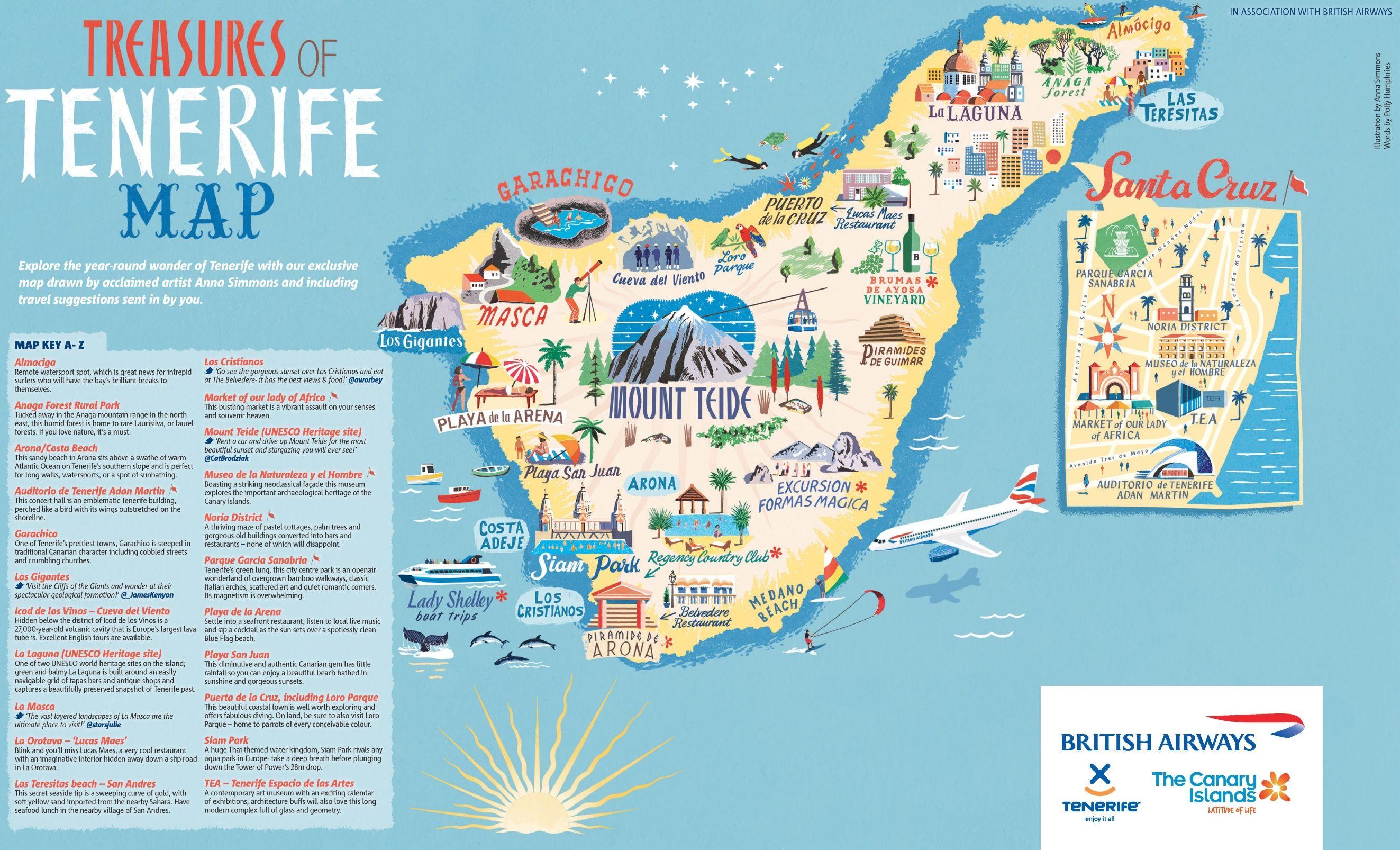 Tenerife Illustrated Map Tenerife Illustrated Map Map
