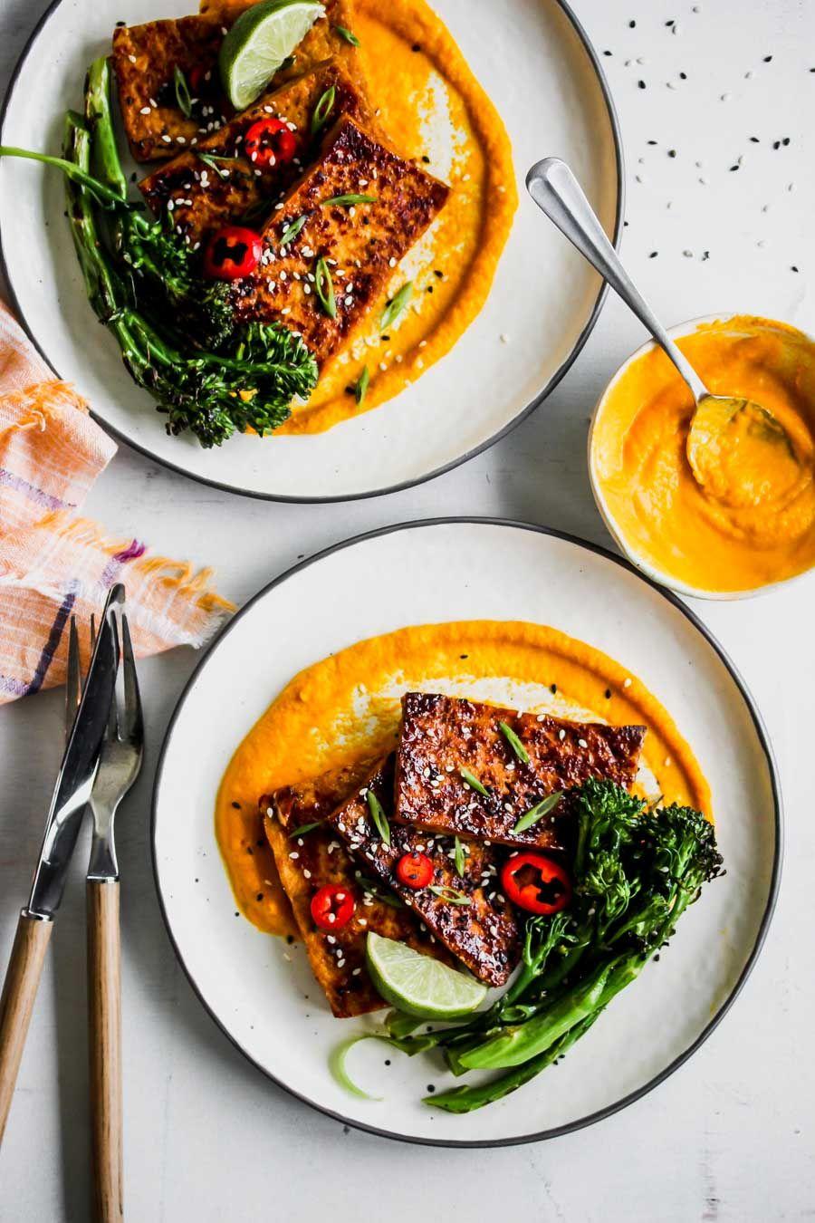 HoneySoy Glazed Tofu with CarrotGinger Sauce Recipe