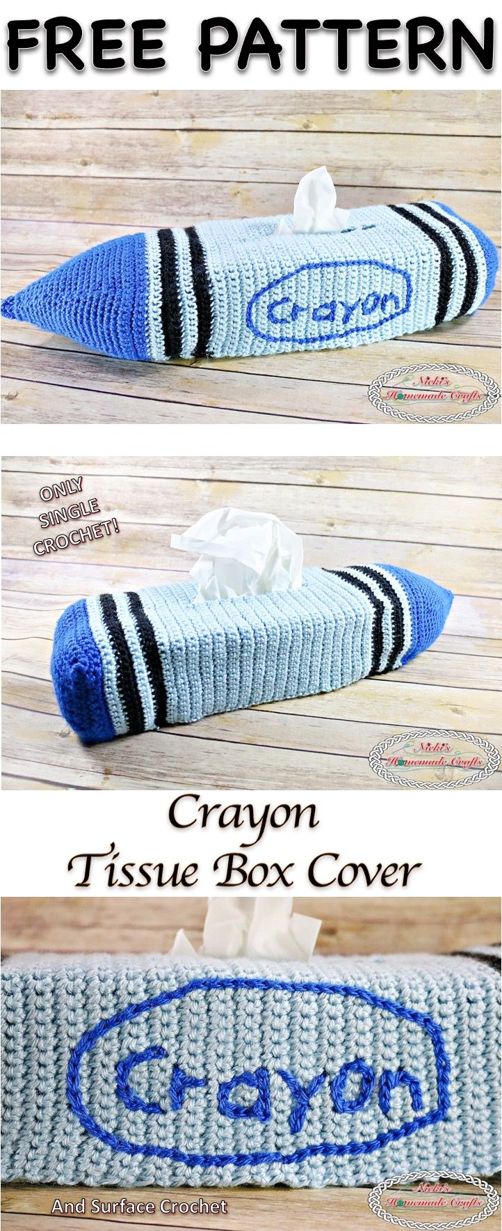 How to crochet a Crayon Tissue Box Cover - Free Crochet Pattern ...