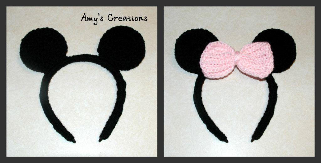 Crochet Mickey and Minnie Mouse Headband | deademas | Pinterest ...