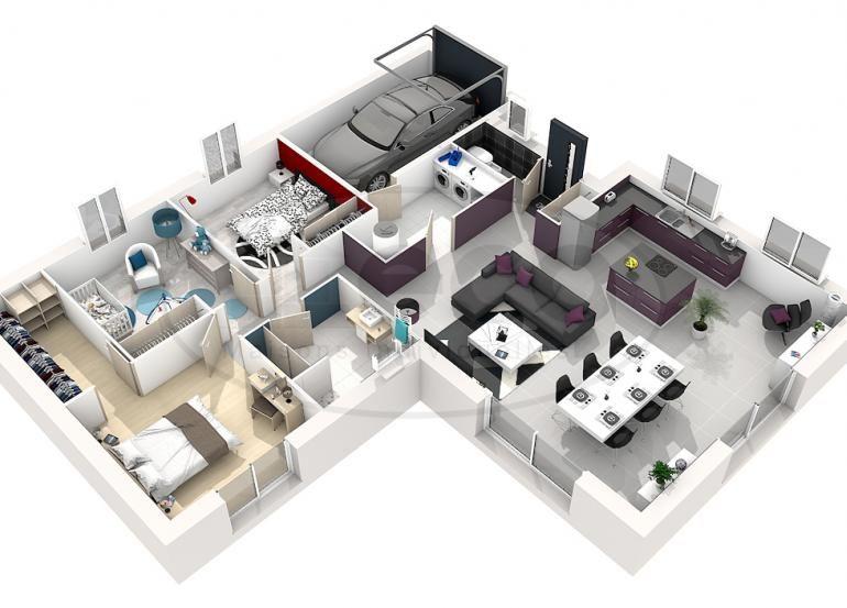 Maison Selene 3 Chambres 3d Plan Petite Maison Plan De Maison