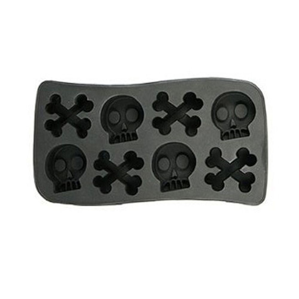 new halloween silicone skull & crossbones ice cube skull tray mold 8