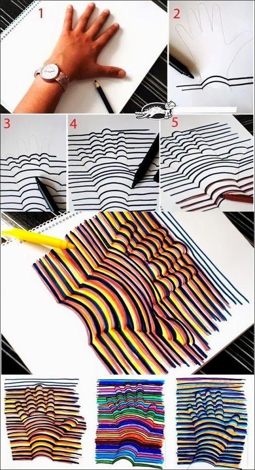 Como Dibujar Una Mano En 3 Dimensiones Manualidades Mano En 3d Ninos Artisticos