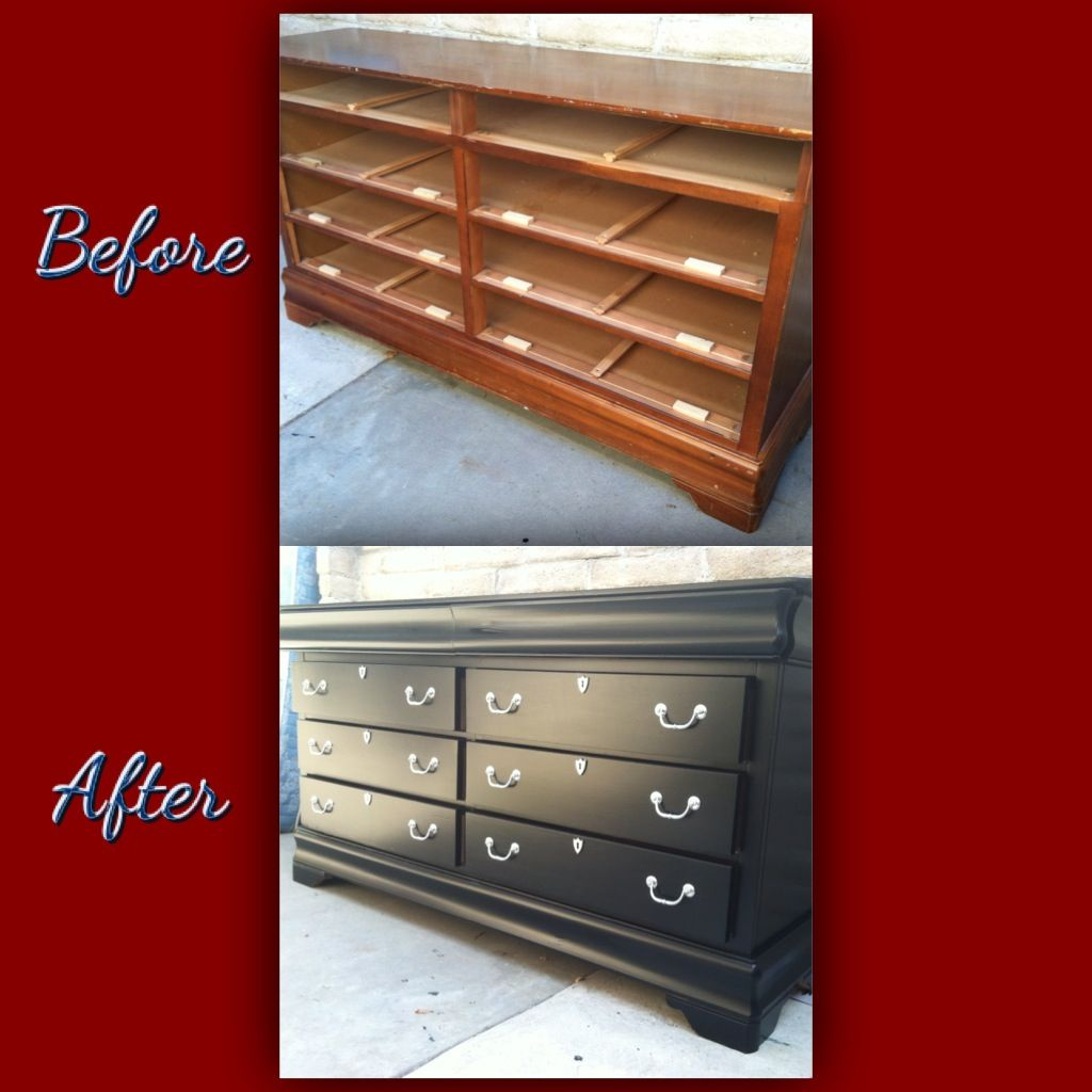 Dresser re done without sanding using Sander Deglosser and  Flat Black   paint. Dresser re done without sanding using Sander Deglosser and  Flat