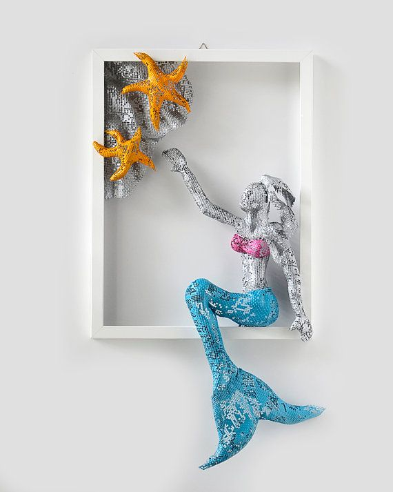 Merveilleux Metal Wall Art Picture Sexy Mermaid Art Framed Art By Nuntchi