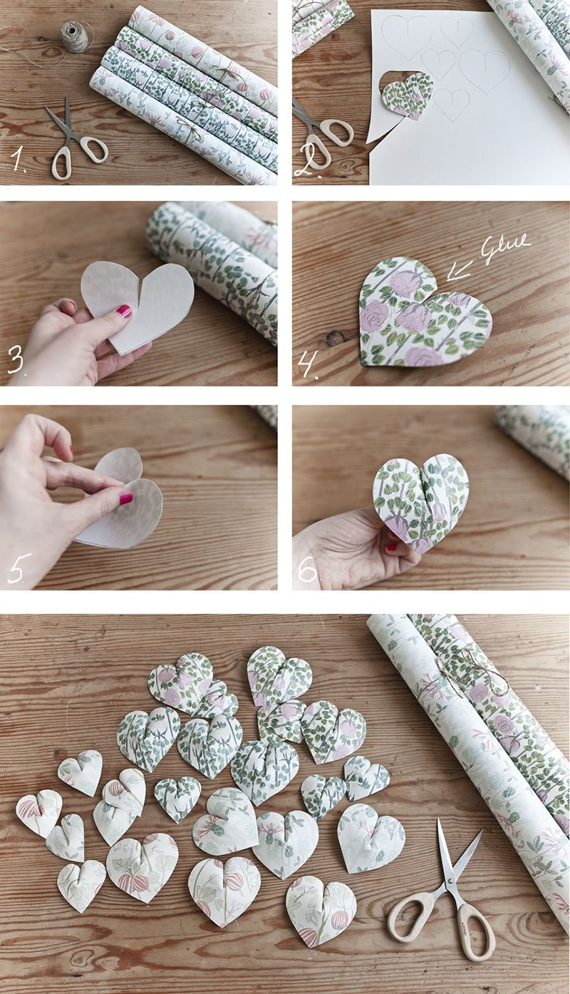 DIY - tip: Fluffy 3D hearts made out of wallpapers #diy #wallpaper #heart #diyproject # ...
