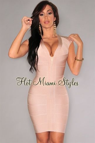 Nude Front Zipper Bandage Dress Womens clothing clothes hot miami styles  hotmiamistyles hotmiamistyles.com sexy club wear evening clubwear cocktail  party ... b5e435e915