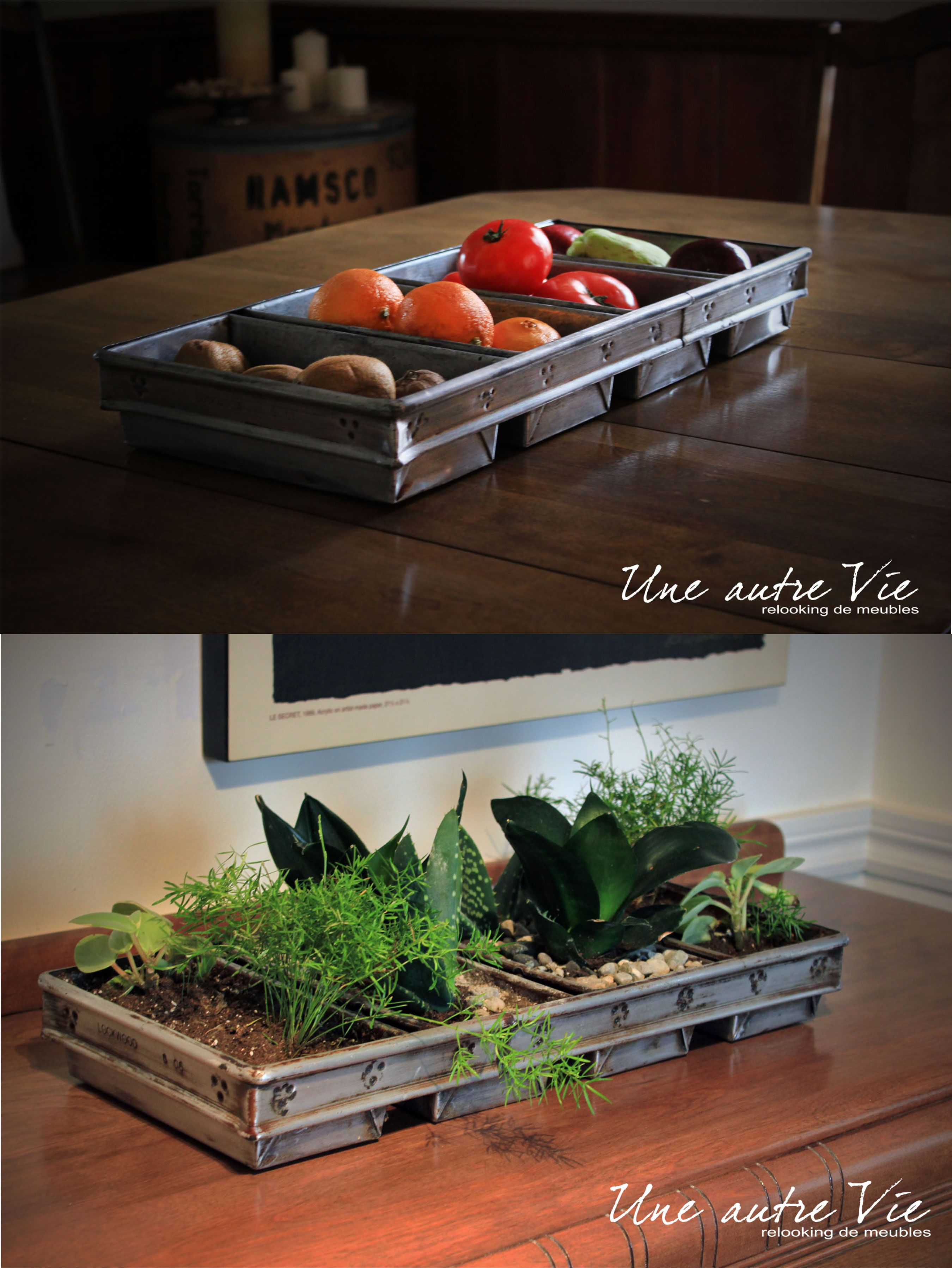 Industrial Bread Pan Recycle Into Flowers Pot And Fruits