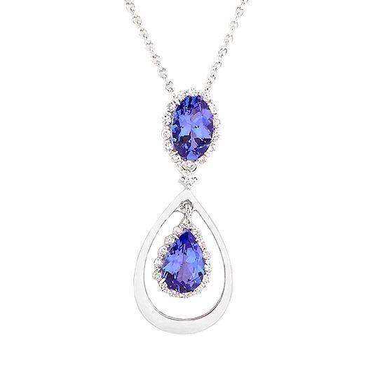 9 carat white gold diamond and tanzanite pendant and chain 9 carat white gold diamond and tanzanite pendant and chain aloadofball Gallery