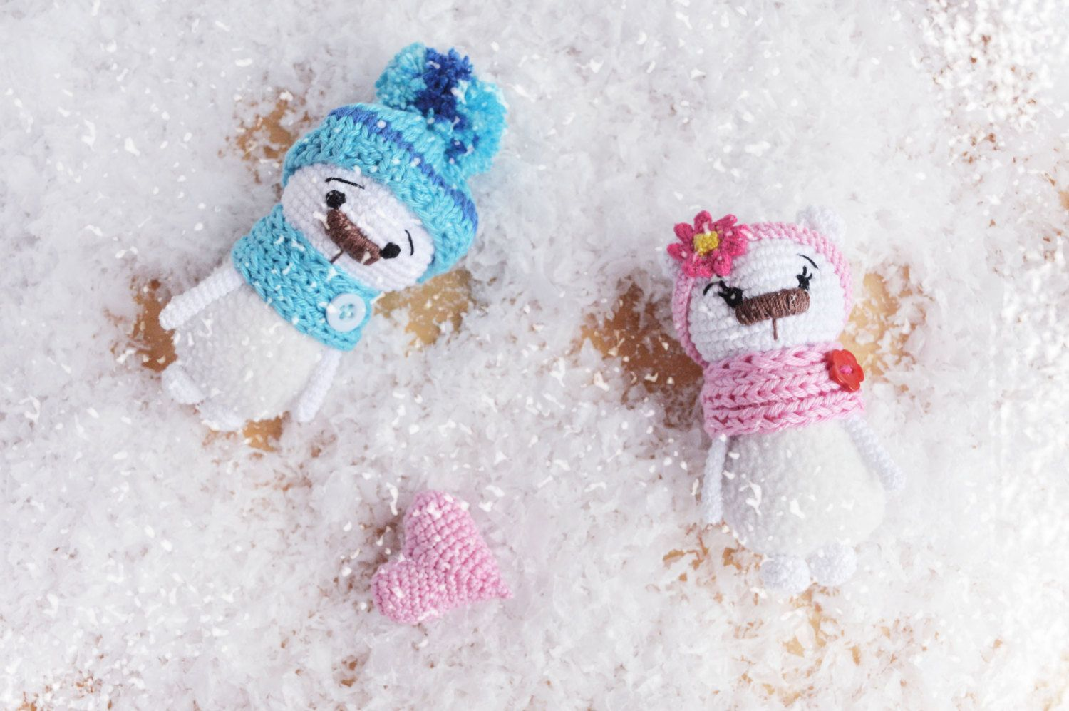 Set of Two Tiny crocheted bear with heart /decorative soft cute crocheted toy /plush Amigurumi / stuffed animal/ St.Valentine day gift #Etsy #Share #EtsyShop Shared by #BaliTribalJewelry http://etsy.me/1sDZ302