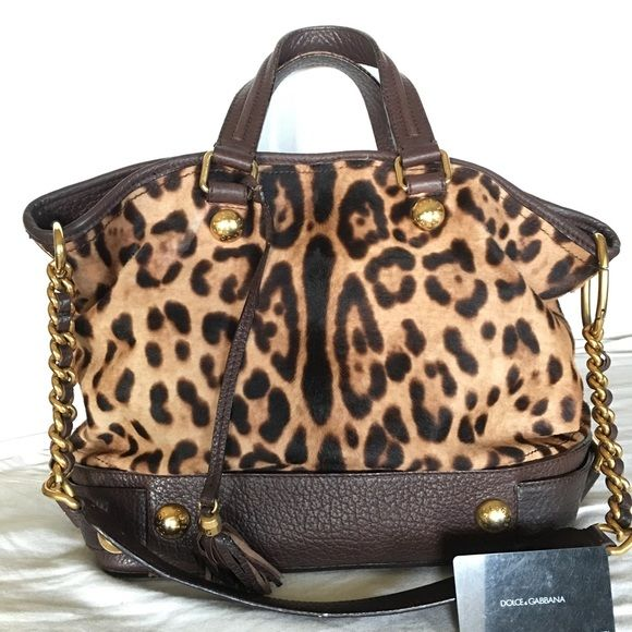 9d3fc0959c Dolce and Gabbana Two ways handbag This is authentic Dolce Gabbana Leopard  Print Pony hair leather satchel shoulder bag. The leather and inside heavy  duty ...