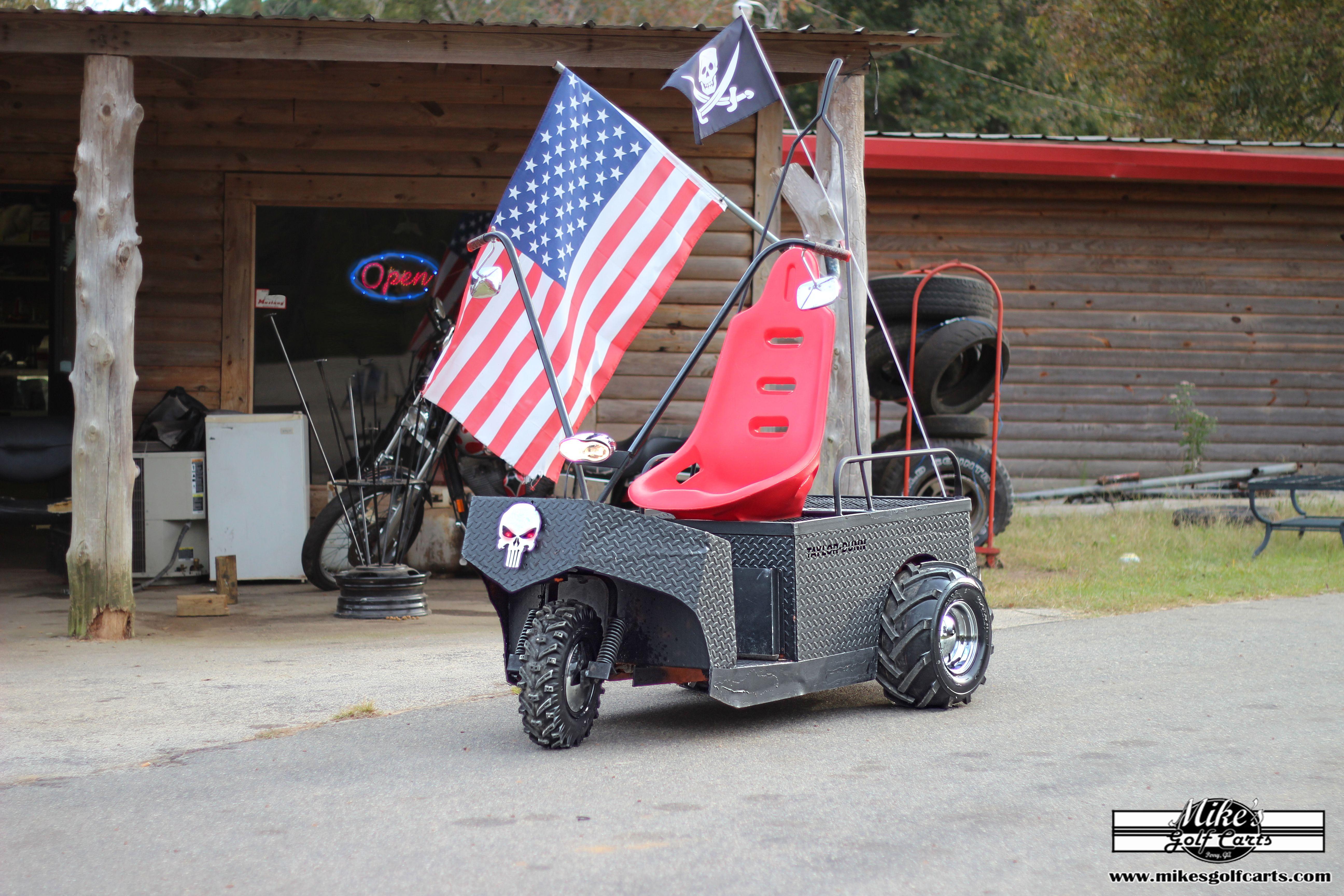 Our Custom Cushman Golf Cart Trike At Motorcycle Shop Previously A Warehouse Golf Cart Converted To An Ape Hange Custom Golf Carts Motorcycle Shop Golf Carts