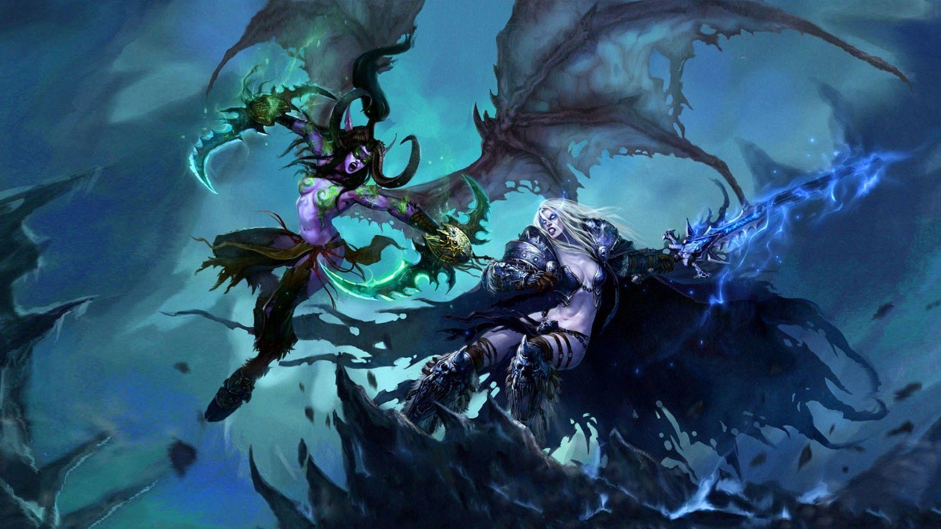 Illidan Vs Sylvanas World Of Warcraft Wallpaper World Of