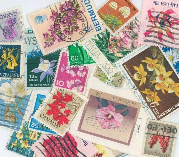World flowers postage stamps scrapbooking by gracealleytreasures, $2.50