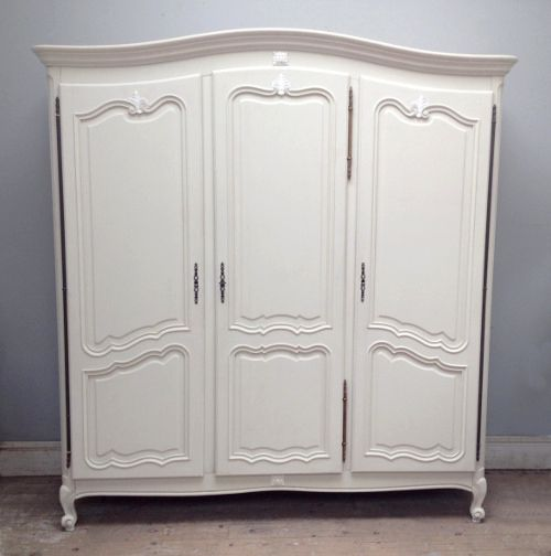 French Vintage Armoire / Provencal Style / Escargot Feet / Farrow U0026 Ball  U0027Off White