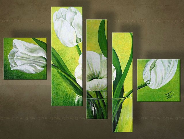 Ručně malovaný obraz KVĚTINY 5 dílný 4982FA