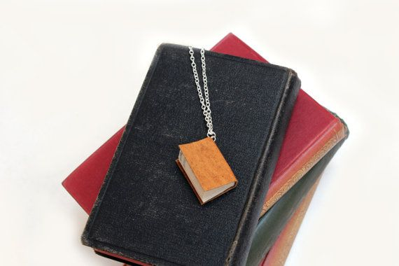 Unique Flecked Yellow with Ochre Leather Book Necklace -Handcrafted Miniature Literature- Limited Edition. https://www.etsy.com/nz/shop/ExLibrisJewellery