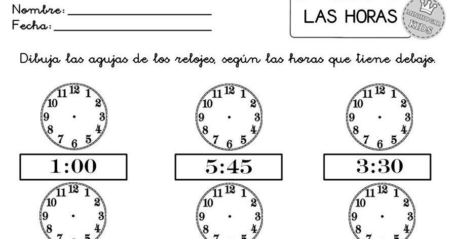 Fichas 1 2 3 4 Y 5 De Ejercicios Donde El Nino A Debe De Dibujar Las Agujas De Los 12 Relojes Que Contienen Cada Un Fichas Reloj De Agujas Agujas
