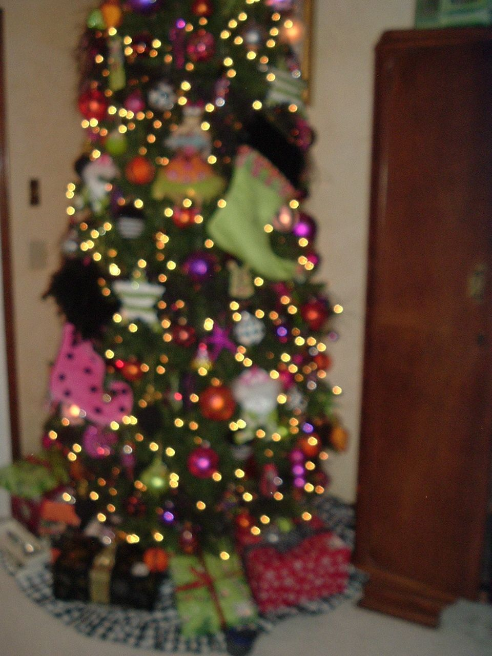 From Halloween tree with orange, hot pink, purple, lime green and ...