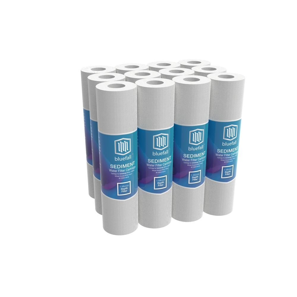 Bluefall 1 Micron 10 In X 2 5 In Universal Sediment Water Filter For Whole House Or Ro Systems 3 Layered 13000 Gal Pack Of 12 Whole House Water Filter Water Filter Under Sink Water Filter