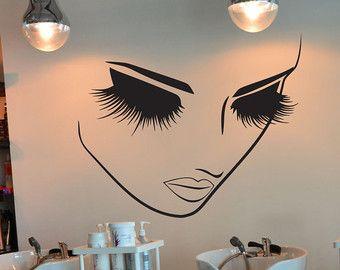 Pestañas maquillaje pared decoración salón por VinylWallArtworks