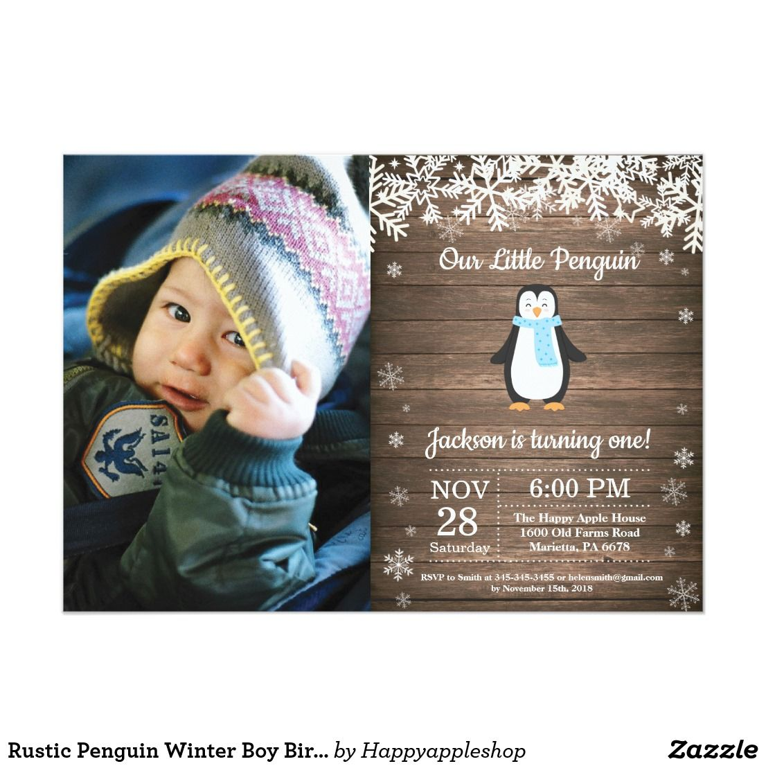 Rustic Penguin Winter Boy Birthday Photo Invitation