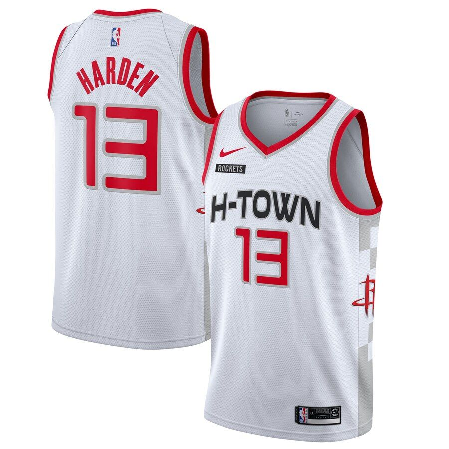 Men S Houston Rockets James Harden Nike White 2019 20 Finished City Edition Swingman Jersey In 2020 Houston Rockets Rocket City James Harden