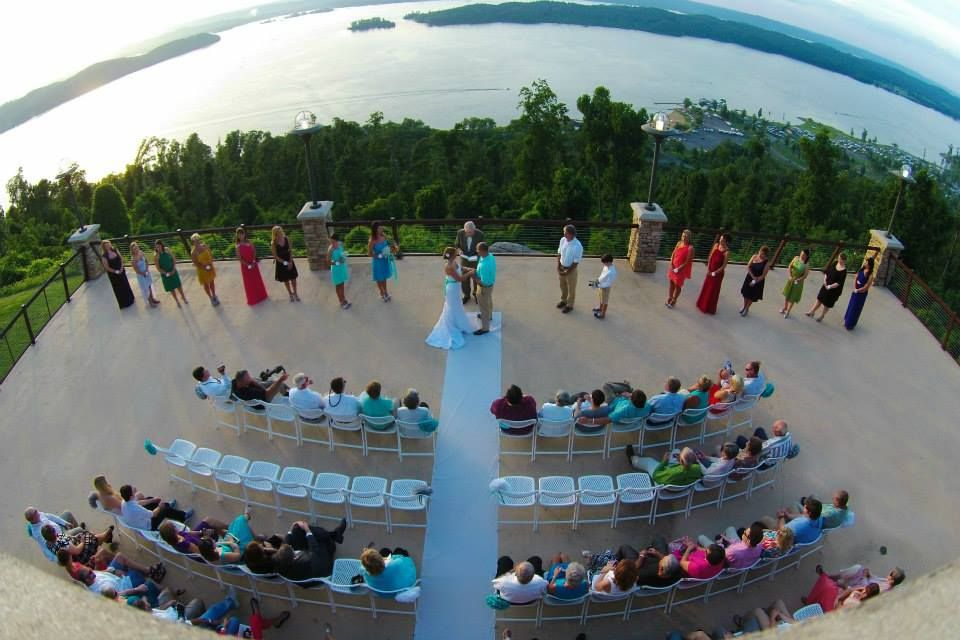 Aerial view of our beautiful wedding at the Lake
