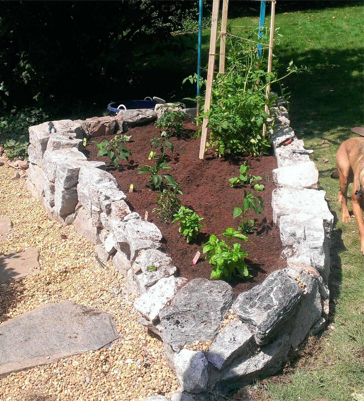 Diy stone raised garden bed raised garden garden beds