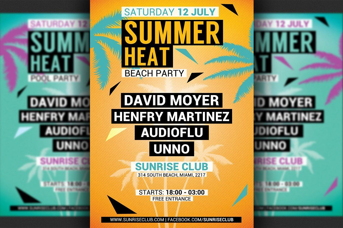 Minimal Summer Party Flyer Template By Hotpin On Creativemarket