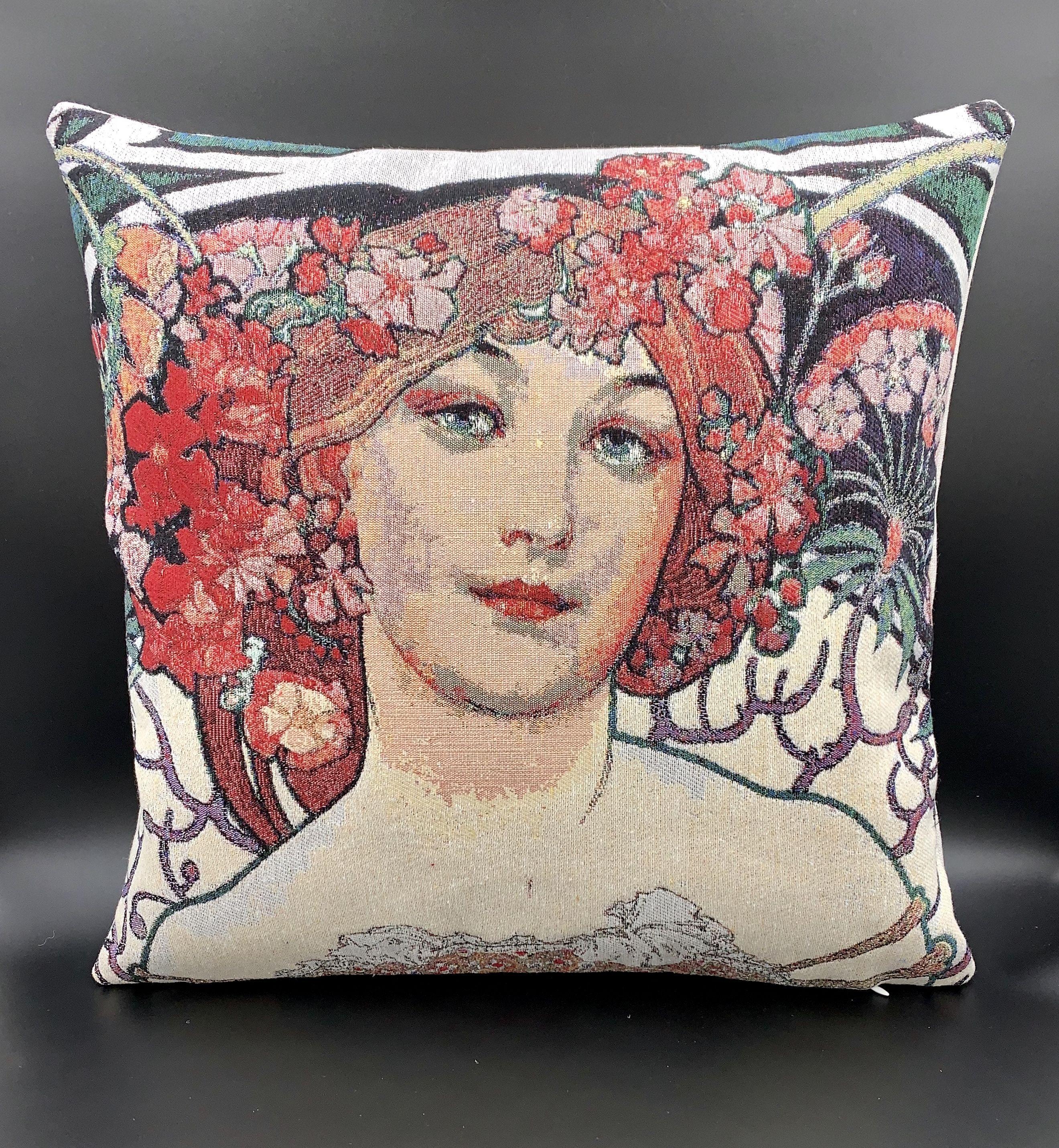 Portrait Of A Woman Throw Pillow Art Cushion Pillow Woman Portrait Woven Gobelin Bohomian Pillow Art Throw Pillows Tapestry Pillow