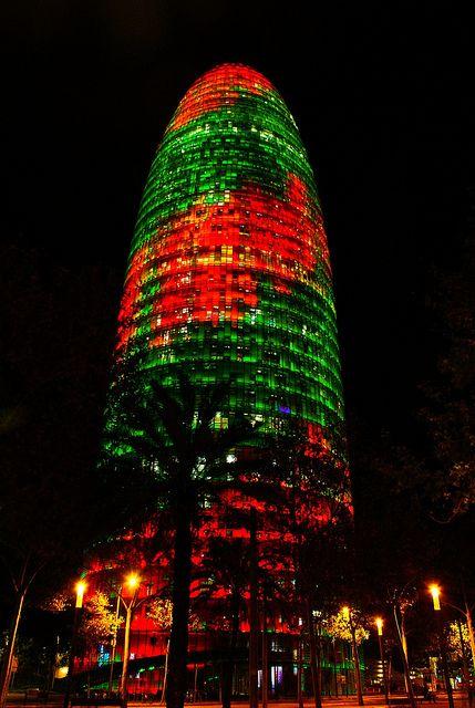 Christmas in Torre Agbar, Barcelona, Spain