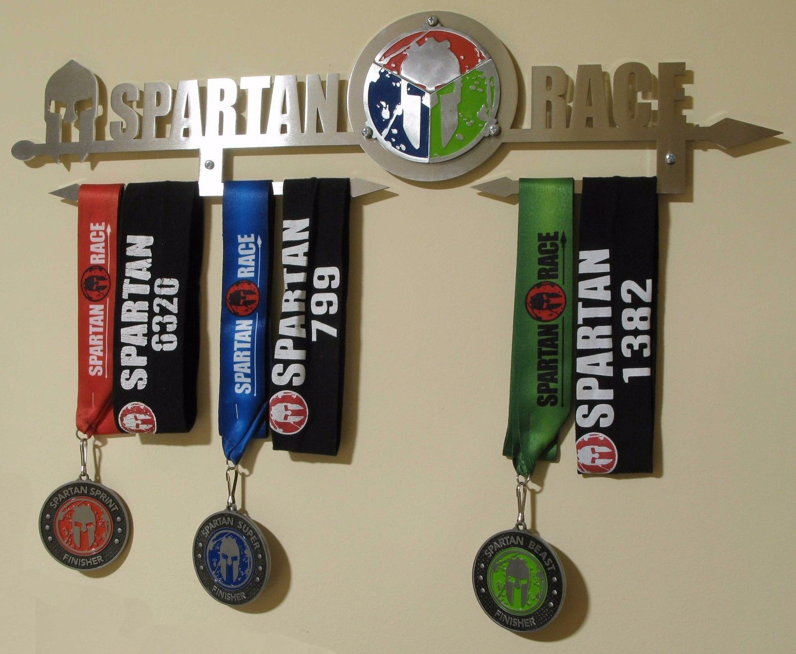 Spartan Race Trifecta medal display rack, holder, black or brushed ...