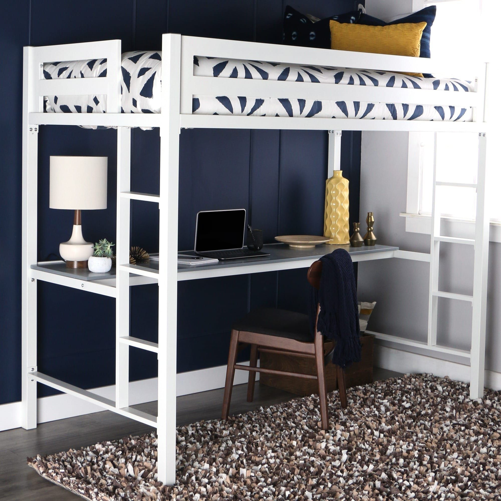 Ordinaire Twin White Metal Loft Bed With Desk | Overstock.com Shopping   The Best  Deals