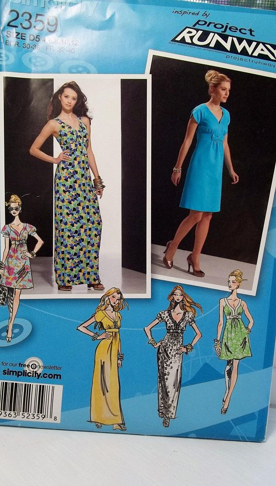 Misses Maxi Dress Project Runway Simplicity 2359 Sewing Pattern V