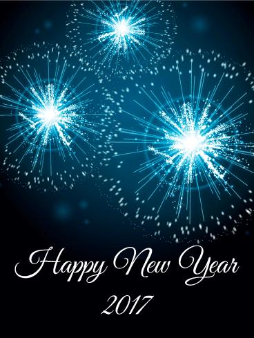 blue new year fireworks card