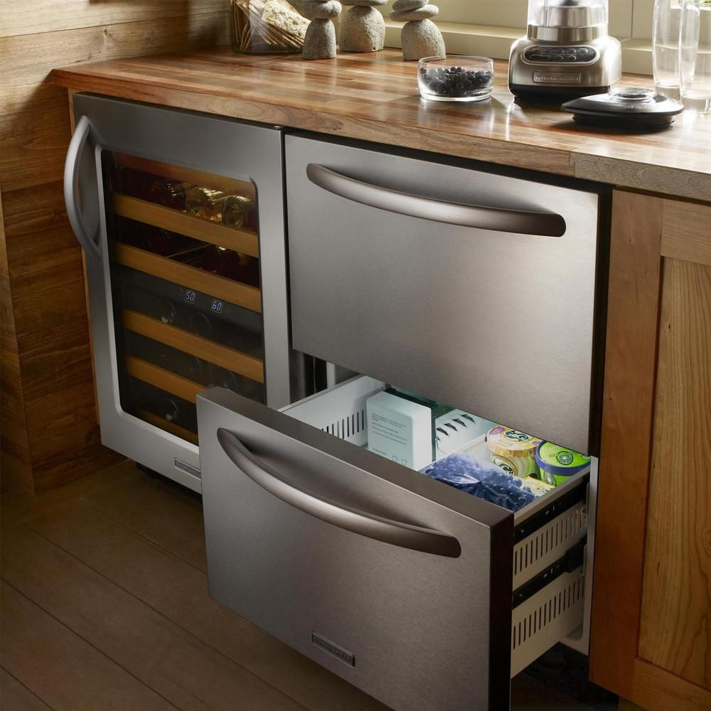 Built in refrigerator cabinet - Kitchenaid Architect Series Ii 24 Inch Built In Double Drawer Refrigerator Freezer