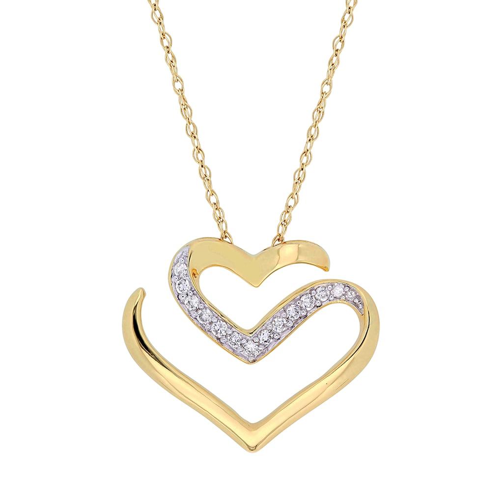 Stella Grace 10k Gold 1 10 Carat T W Diamond Necklace Open Heart Necklace Heart Pendant Gold Yellow Gold Chain