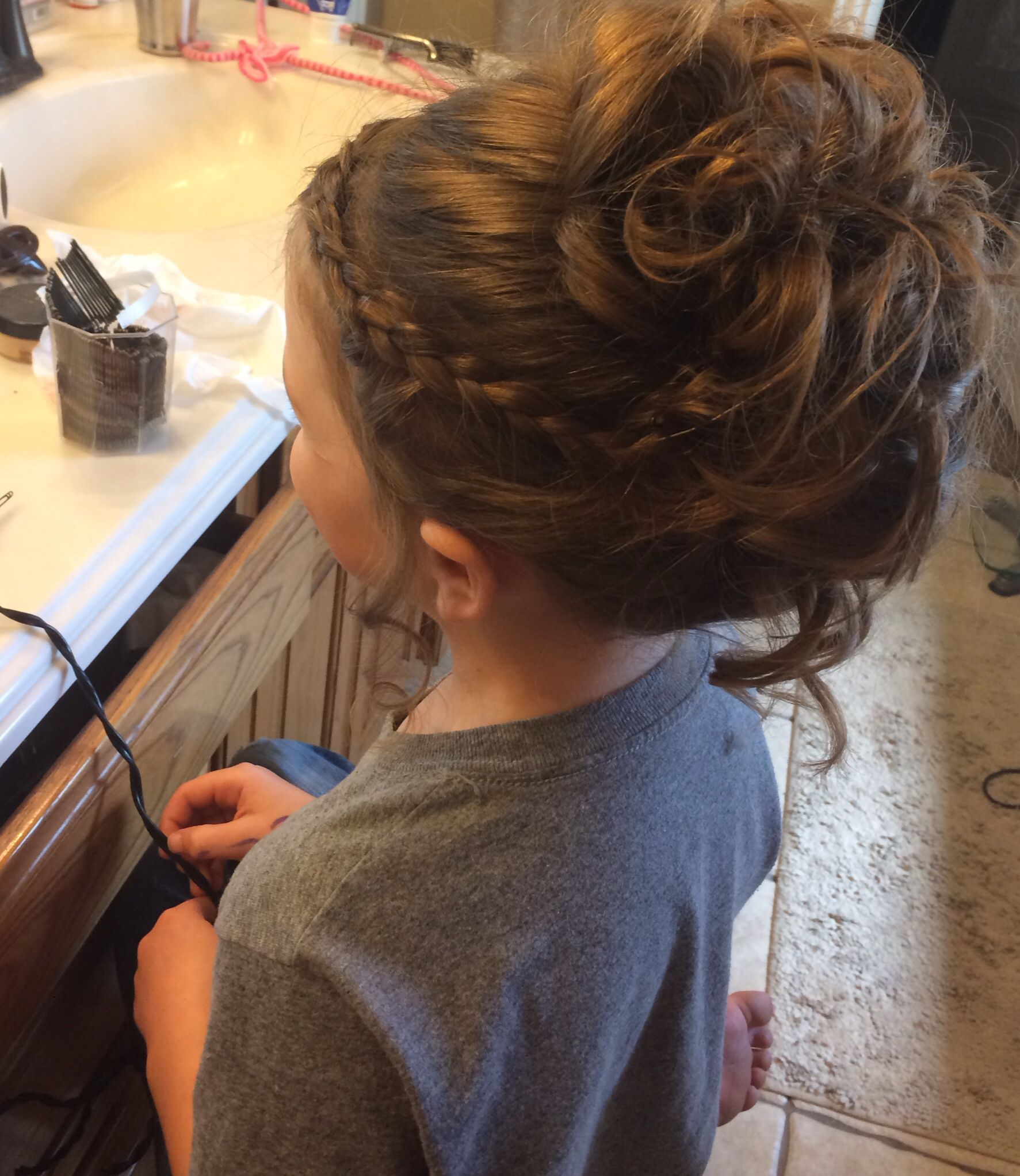 Flower girl hair for my lil la s …