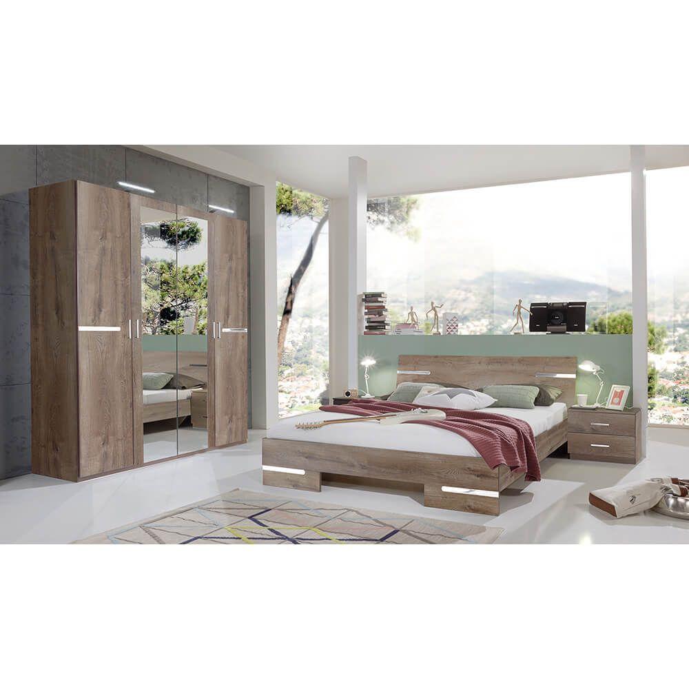 Schlafzimmer Set Anna Bett 160x200 mit 4trg. Kleiderschrank ...