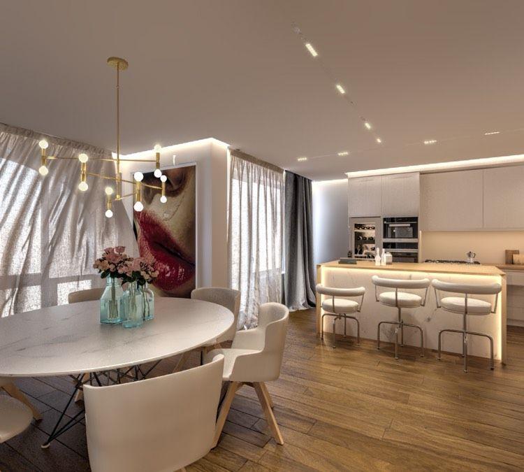 offener Wohnbereich in Weiß mit dunklem Holzboden Wohnideen - offene küche mit insel