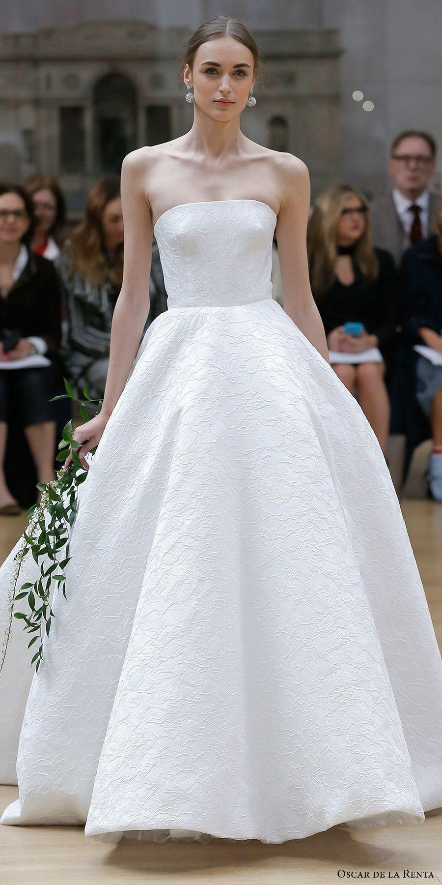 Oscar de la renta spring bridal strapless straight across