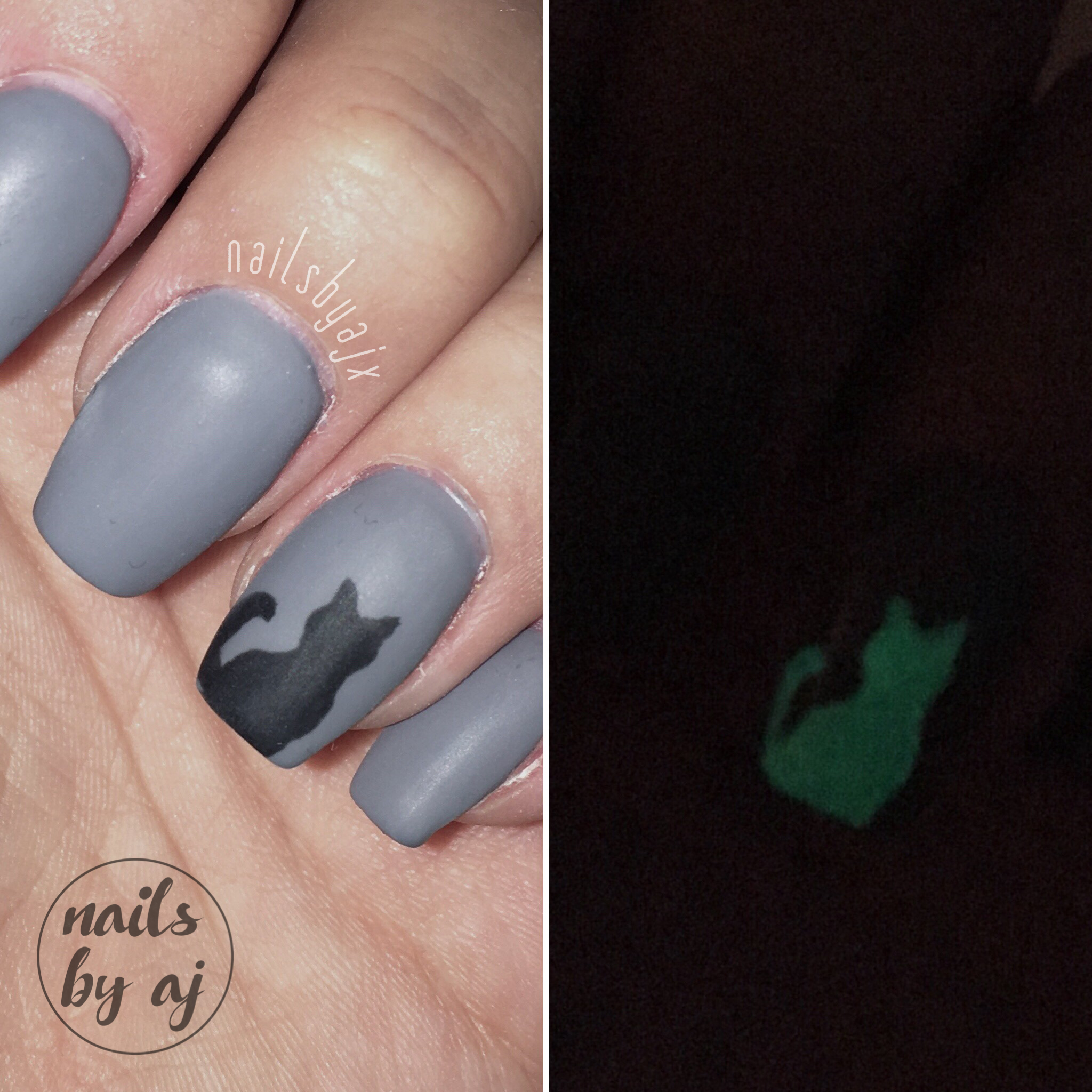 Simple Halloween Nails Short Grey Coffin Gel Nails With Glow In The Dark Black Cat Cat Nail Art Halloween Nails Nails