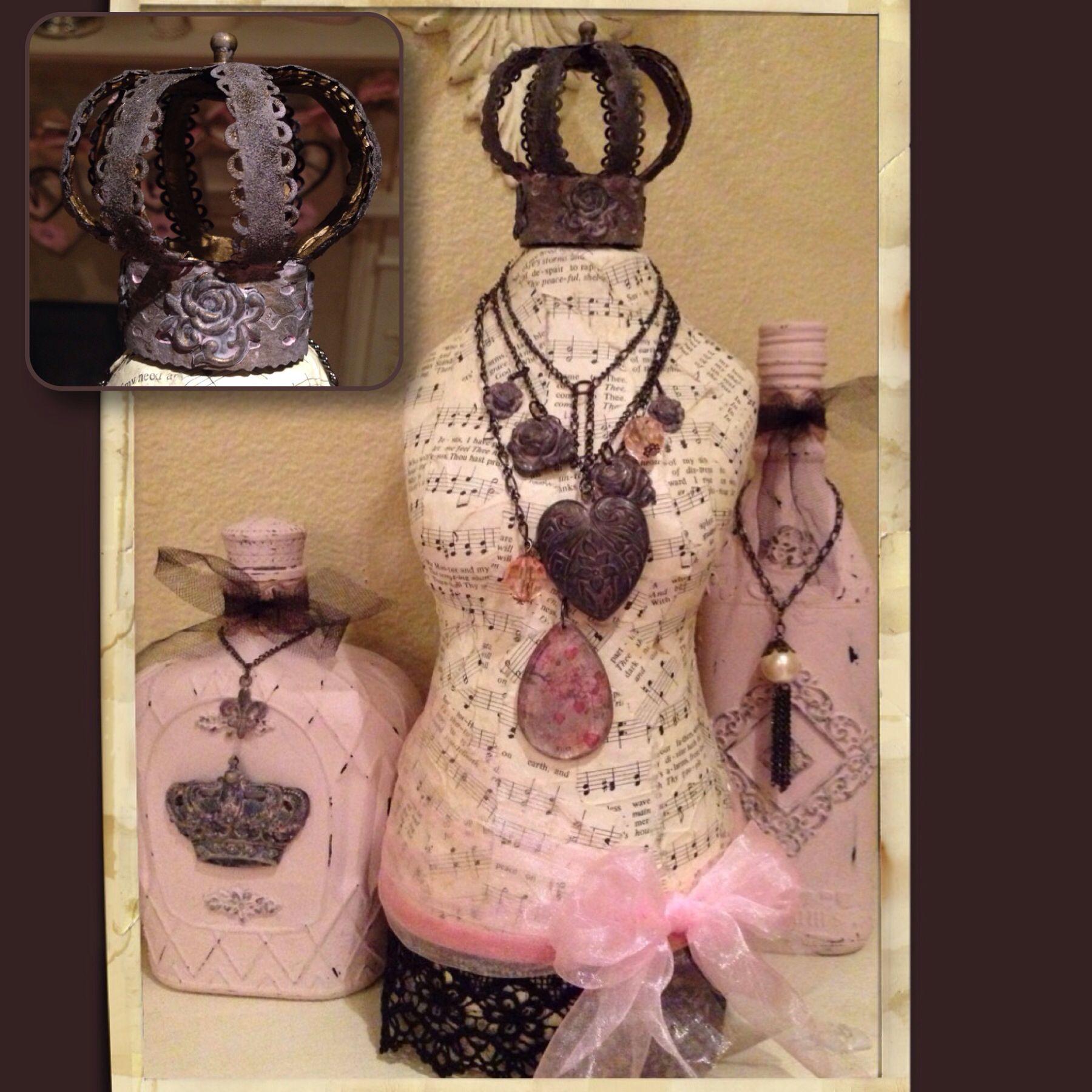 Dress form, altered bottles, vintage crown. Valentine decor.