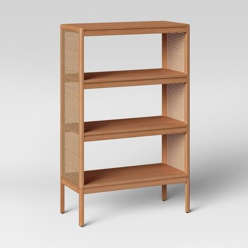 48 Minsmere Caned Bookshelf Natural Brown Opalhouse Brown Bookshelves Natural Bookshelves Bookshelves